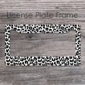 Black cheetah pattern license car frame